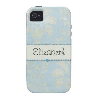 Équilibre bleu de diamants de damassé vert clair b iPhone 4 case