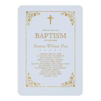 Équilibré dans l'invitation religieuse bleue d'or carton d'invitation  12,7 cm x 17,78 cm