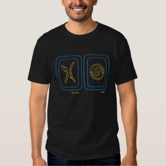 Équilibre et oscillation en bleu et or tshirts
