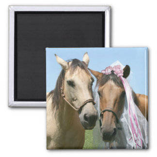 Equine bride and groom magnet