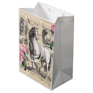 equine vintage music medium gift bag