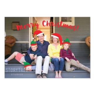 Équipage de Joyeux Noël avec la photo mobile de Carton D'invitation 12,7 Cm X 17,78 Cm