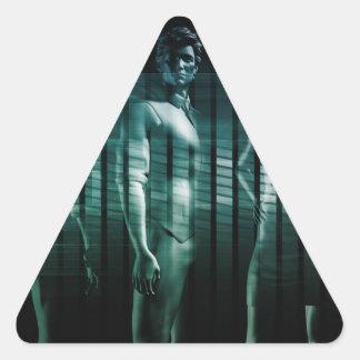 Équipe d'affaires avec l'expression sérieuse sticker triangulaire