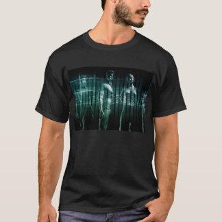 Équipe d'affaires avec l'expression sérieuse t-shirt