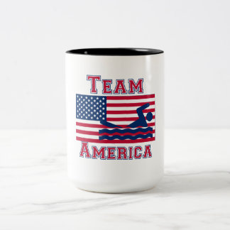 Équipe de natation Amérique de drapeau américain Mug À Café