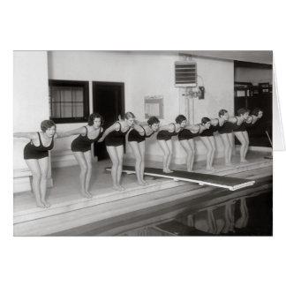 Équipe de natation de filles, 1930 carte de vœux