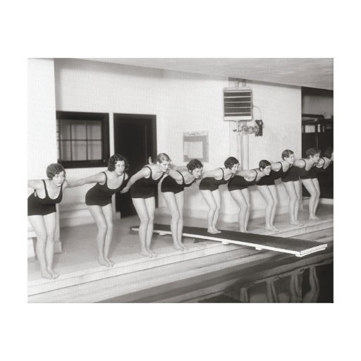 Équipe de natation de filles, 1930 toile tendue sur châssis