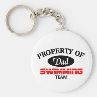 Équipe de natation de papas porte-clé rond