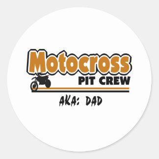 Équipe du stand de ravitaillement de motocross sticker rond