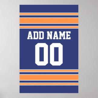 Équipe Jersey avec le nom et le nombre faits sur c