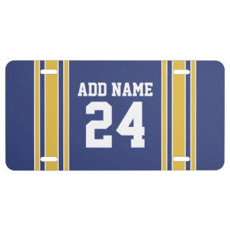 Équipe Jersey avec le nom et le nombre faits sur c Plaque D'immatriculation