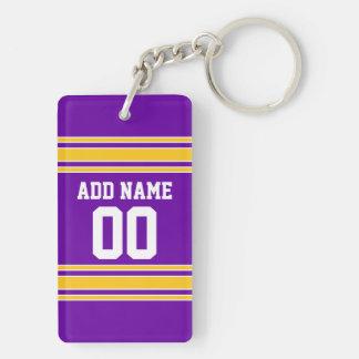 Équipe Jersey avec le nom et le nombre faits sur Porte-clé Rectangulaire En Acrylique Double Face