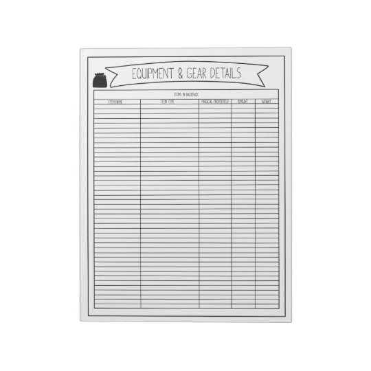 Equipment & Gear Details Sheets Notepad