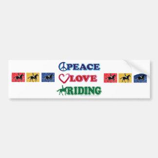 Équitation d'amour de paix autocollant de voiture