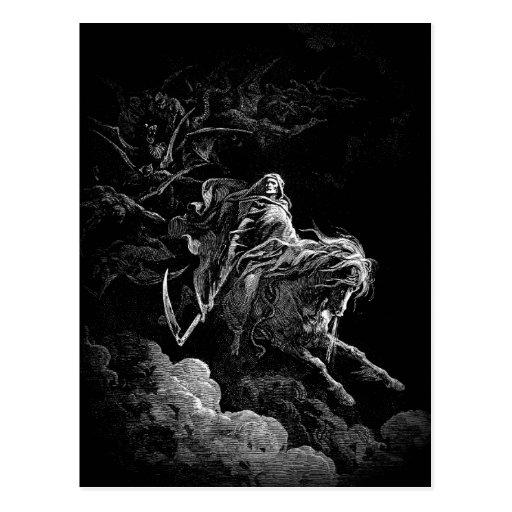 Équitation de la mort à travers une carte postale
