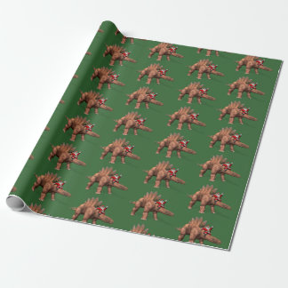 Équitation drôle du père noël sur le dinosaure de papiers cadeaux noël