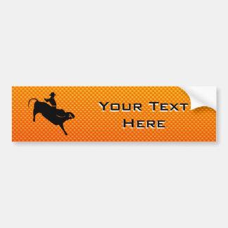 Équitation jaune-orange de Taureau Autocollant De Voiture