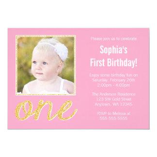 Ęr anniversaire d'or de Faux de photo rose de Carton D'invitation 12,7 Cm X 17,78 Cm