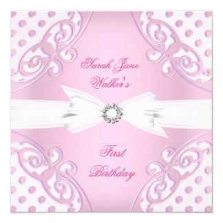 ęr Arc blanc de point de polka de rose de fille de Carton D'invitation 13,33 Cm