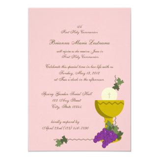 ęr Calice de communion Carton D'invitation 12,7 Cm X 17,78 Cm