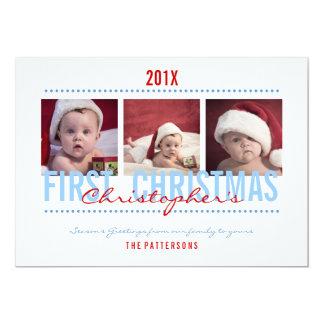 Ęr carte photo de Noël du bébé pour le bébé Carton D'invitation 12,7 Cm X 17,78 Cm