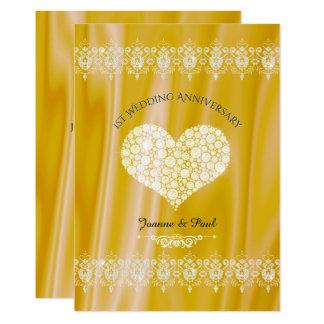 ęr Diamants d'or de fête d'anniversaire de mariage Carton D'invitation 12,7 Cm X 17,78 Cm