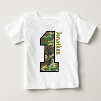 ęr Garçon Camo d'anniversaire un nom fait sur T-shirt Pour Bébé