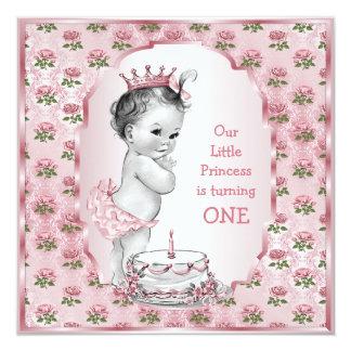 Ęr gâteau d'anniversaire de roses vintages de carton d'invitation  13,33 cm
