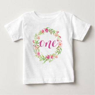 ęr Guirlande florale de bébé d'anniversaire T Shirt