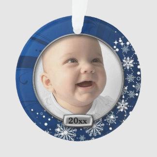 Ęr Noël de bébé bleu/argenté de cadre