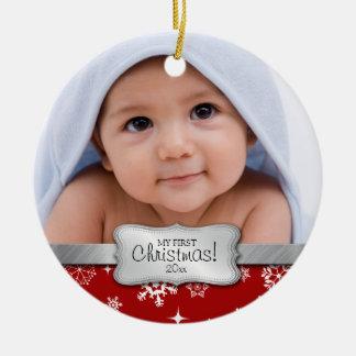 Ęr Noël du bébé.  Ajoutez votre photo Ornement Rond En Céramique