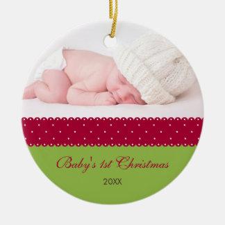 Ęr Noël du bébé - ruban (vert) Ornement Rond En Céramique