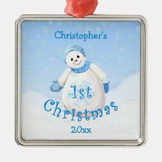 Ęr ornement de bonhomme de neige de Noël du bébé