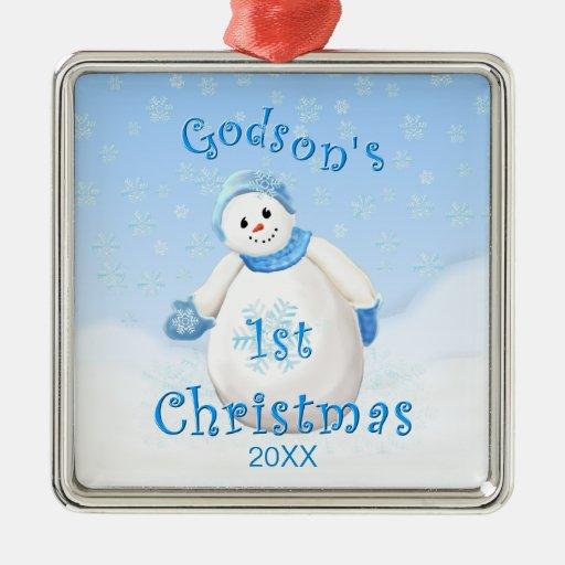 Ęr ornement de bonhomme de neige de Noël du filleu