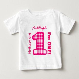 ęr PLAID de fille d'anniversaire un nom fait sur T Shirt