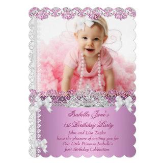ęr Princesse Pink Photo First de fille de fête Carton D'invitation