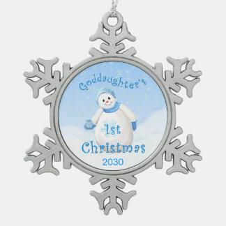 Ęr souvenir de Noël de la filleule Ornement Flocon De Neige Pewter