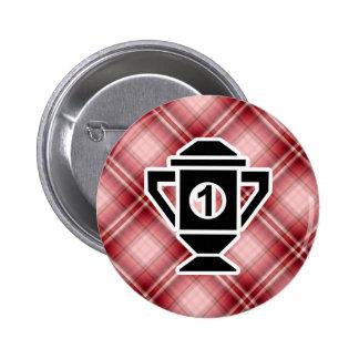 Ęr trophée d endroit de plaid rouge badges avec agrafe