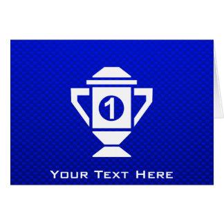 Ęr trophée d'endroit de bleu carte de vœux