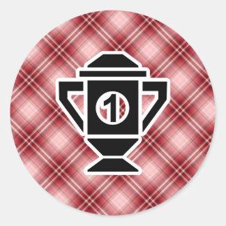 Ęr trophée d'endroit de plaid rouge adhésif rond