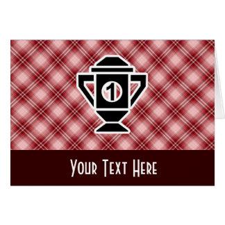 Ęr trophée d'endroit de plaid rouge carte de vœux