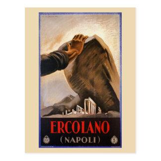 Ercolano Naples Italian art deco travel ad Postcard