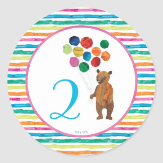 Eric Carle | Beary Girl Striped Birthday Classic Round Sticker