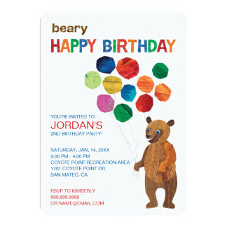 "Eric Carle | Brown Bear - Beary Happy Birthday 5"" X 7"" Invitation Card"
