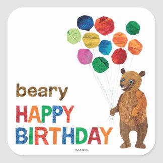 Eric Carle | Brown Bear - Beary Happy Birthday Square Sticker