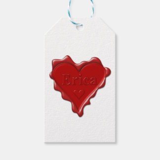 Erica. Red heart wax seal with name Erica Pack Of Gift Tags