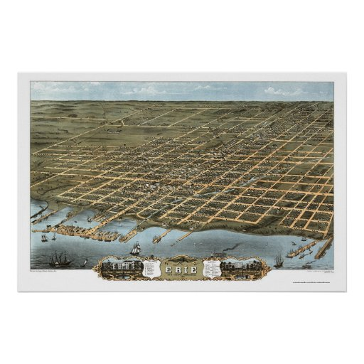 Erie, PA Panoramic Map - 1870 Poster