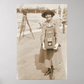 Erika Morini Holding Large Box Camera Poster