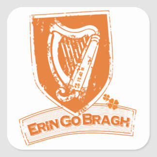 Erin Go Bragh (Harp Orange) Square Sticker