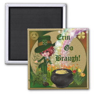 Erin Go Braugh leprechan Square Magnet